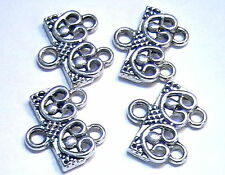 TWO SETS 2 HOLE SLIDER BEAD LINK END BAR CLASP CONNECTOR ANTIQUED SILVER PLATED