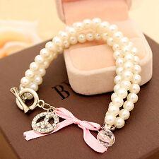 New Fashion Jewelry Bangle Crystal Rhinestone Pearl Women's Chain Charm Bracelet