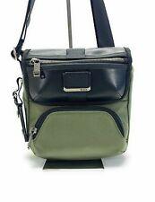 Tumi Barton Small Crossbody Tundra Green Black Leather Men's Day Bag 232306