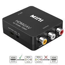 Composite HDMI to AV CVBS 3RCA Video Converter Adapter 720/1080p + USB Cable UK