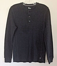 Mens Levi-Strauss Henley Thermal Shirt, Long Sleeves, Round Neck, Dk Gray Size S