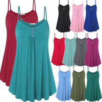 Women Summer Plus Size Loose Strappy Botton Tank Tops Swing Vest T-Shirt Blouse