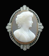 Platinum Art Deco Sardonyx Cameo Brooch/Pendant with Diamonds - 20th Century