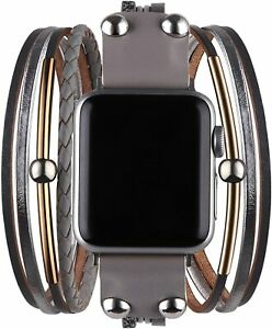 Watch Strap for Iwatch Band Multi-Layer Leather Wrap Bracelet For Apple Watch SE