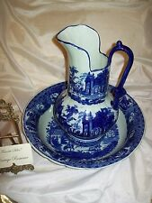 Victoria Ware Ironstone Pitcher and Bowl Basin Cheese Cover 3 Piece Set  Heavy