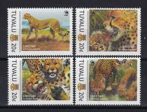 TIMBRE STAMP 4 ILE TUVALU Y&T#1518A-D GUEPARD CHEETAH NEUF**/MNH-MINT 2011 ~E26