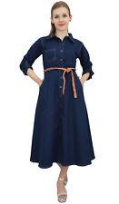 Bimba Navy Blue A-Line Button Down Casual Women's Dress With Tie Waist Dori