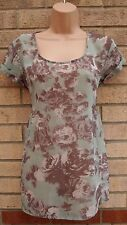 NEXT TAUPE MINT GREEN FLORAL BAGGY OVERSIZED TUNIC CAMI TOP BLOUSE SHIRT 6 XS