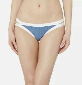 Seafolly Block Party Women's Brazilian Low Rise Bikini Bottom Swimsuit Blue 6 US