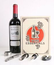 Kikkerland LARGE BOOK WINE KIT 5pc Gift Corkscrew DRIP CATCHER Bottle Stopper