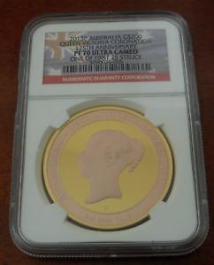 Australia 2013P Gold 2 oz $200 NGC PF70UC Queen Victoria Coronation Mintage- 150