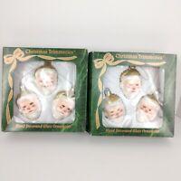 2 boxes    '' Christmas Trimmeries '' 6 Santa  Ornaments Bradford Glass