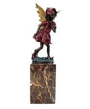 Elfen Figur - Blumenelfe - Bronze auf Marmorsockel - Jugendstil - signiert Milo