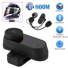 800M BT Interphone Motorcycle Motorbike Bluetooth  Helmet Intercom FM headset