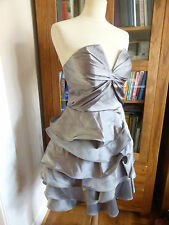 BNWT Karen Millen pewter strapless frill dress 12 NEW party event silk