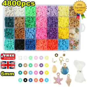 Colorful Jewelry DIY Kit Clay Spacer Beads Bracelet Making Ceramic Bead Set UK