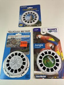 3 Vintage View-master 3D Reels NIP Grand Canyon, Jungle And Petrified Forest