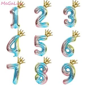 32'' Numbers Rainbow Foil Balloons With Crown Baby Shower Birthday Party Decor m