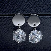 18K WHITE GOLD GP 925 SILVER MADE WITH SWAROVSKI CRYSTAL BALL DANGLE EARRINGS