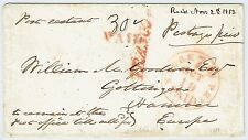 TRANSATLANTIC 1853 STAMPLESS COVER FROM US TO GERMANY POST RESTANT, POSTAGE PAID