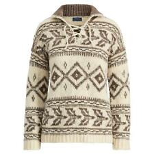 $398 POLO RALPH LAUREN geometric Nordic lace-up sweater wool/alpaca Medium NWT