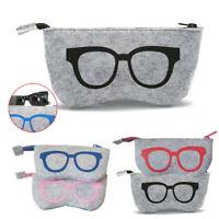 Soft Felt Sunglasses Eyeglasses Glasses Zipper Pouch Case Makeup Cosmetic Bag