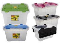 Heidrun Aufbewahrungsboxen 10 Liter transparent /Deckel Bunt mit Verschluss