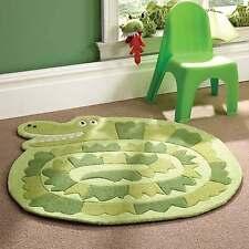 Childrens Rugs Boys Fun Kiddy Play Crocodile Green Polyester Rug - 90 x 90 cms