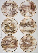Carta di riso per decoupage decopatchscrapbook Craft sheet paesaggio con neve