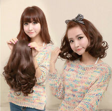 Women's Short Curly Wavy 3/4 Half Wig Cosplay Daily Party Hair Fall Brown/Black