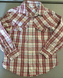 Old Navy Plaid Shirt, Snap Up Front.  Size 7.  Western, Long Sleeve.  Red Plaid.