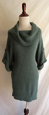 Ann Taylor Medium Green Cable Knit Cotton Cowl Neck Sweater Fall Tunic Dress