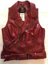 JACK BB DAKOTA Rust Red Faux Leather Biker Vest Size: Medium