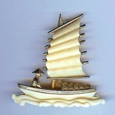 Hattie Carnegie Brooch Asian Oriental junk/boat 1960's Excellent