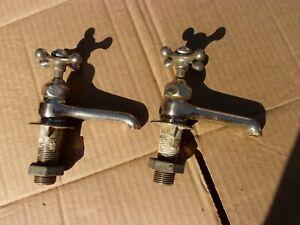Antique Kitchen Faucet Sink Crane Vtg Victorian Porcelain Handle Brass Pedestal