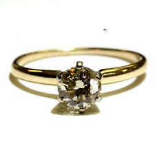 14k yellow gold .99ct round diamond solitaire engagement ring 2.4g estate