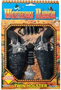 Western Rider Twin Holster And 2 Guns , Toy Guns, Pretend Play, Cowboy Roleplay