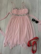 City Triangles Uk8 S Dress Nude Pink Sequin Party Cocktail Skater Flare Knee £75