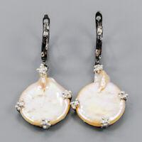 Baroque Pearl Earrings Silver 925 Sterling Handmade  /E42906