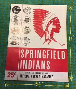 1965-1966 SPRINGFIELD  INDIANS VS BALTIMORE CLIPPERS AHL HOCKEY Program 16 pages