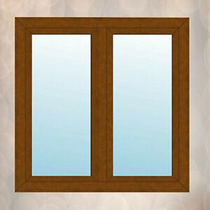Fenster mit Stulp Golden Oak außen, innen weiß 2 flügeliges Kunststofffenster