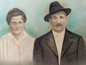 VTG 1900s Antique Man Woman Portrait Drawing On Board 16x20 Color Hat