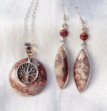 Tree Of Life Mexican Laguna Lace 925 Silver Pendant, Necklace & Earrings