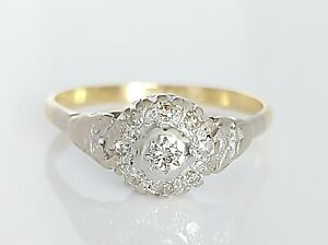 Beautiful Antique 18ct Yellow Gold & Platinum Diamond Cluster Ring UK P/Q 3g
