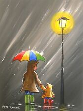 Pete Rumney Art Painting Together In The Rain Umbrella Wellies Lamplight NR