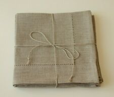 """SET of 6 NATURAL LINEN Taupe Napkins With Hemstitch 34 cm x 34 cm/ 13"""" x 13"""""""