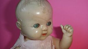 """RARE ANTIQUE ENGLISH 8.5"""" RODDY CELLULOID DOLL MADE IN ENGLAND PAINTED TIN EYES"""