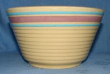 """MCCOY POTTERY PINK BLUE BANDED STRIPE 7"""" YELLOWARE MIXING BOWL USA OVENPROOF"""