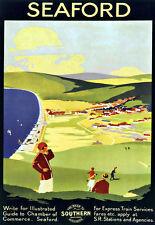 Art ad Seaford Sur Ferrocarril Carril viajar cartel impresión