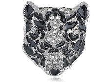 Fierce Black Crystal Rhinestone Breastpin Grandfather Snow Tiger Cat Head Brooch